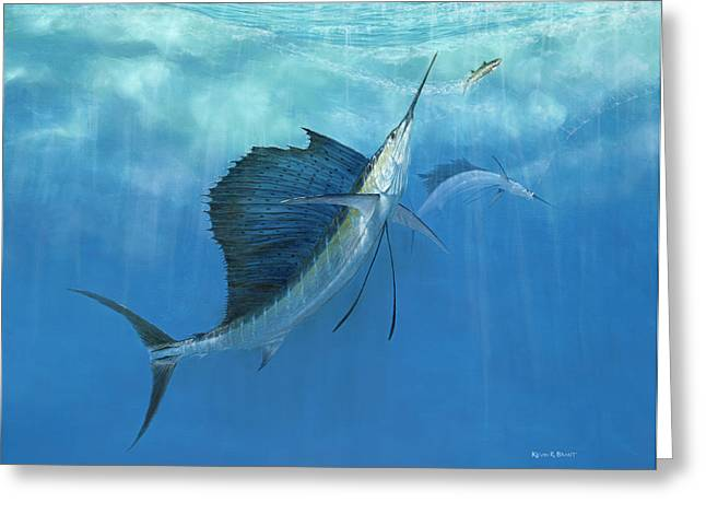 TWO OF A KIND SAILFISH Greeting Card by KEVIN BRANT