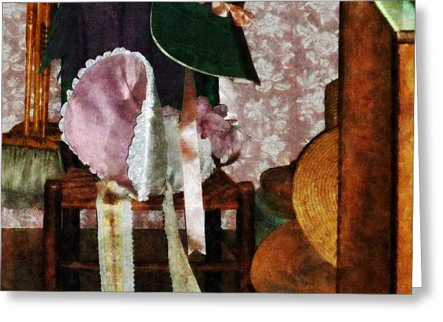 Two Old-Fashioned Bonnets Greeting Card by Susan Savad