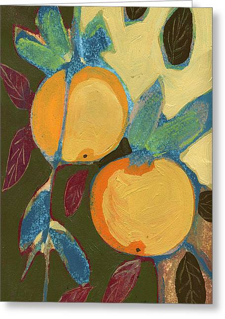 Orchard Greeting Cards - Two Oranges Greeting Card by Jennifer Lommers
