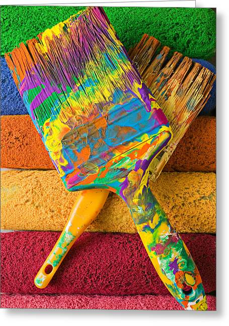Smear Greeting Cards - Two paintbrushes on paint rollers Greeting Card by Garry Gay
