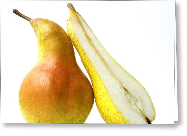 Studio Shots Greeting Cards - Two pears Greeting Card by Bernard Jaubert