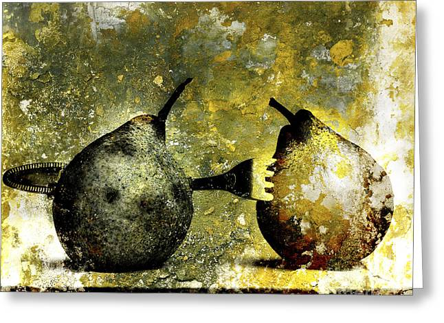 Scrubby Greeting Cards - Two pears pierced by a fork. Greeting Card by Bernard Jaubert