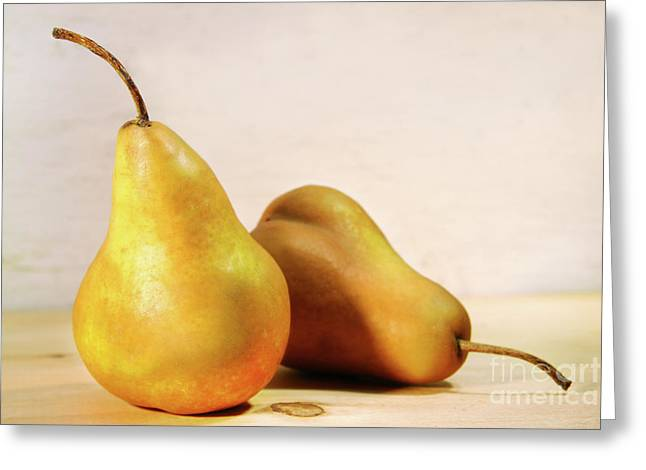 Two Pears Greeting Card by Sandra Cunningham