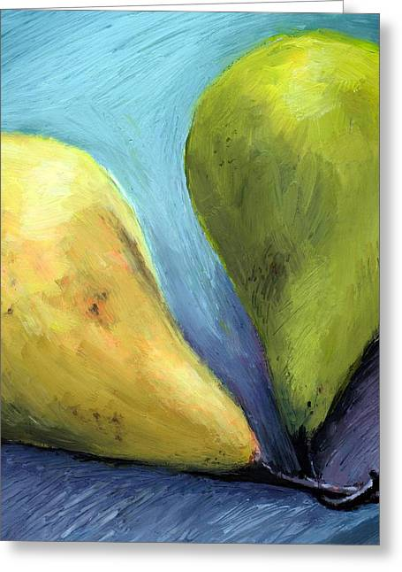Bosc Greeting Cards - Two Pears Still Life Greeting Card by Michelle Calkins