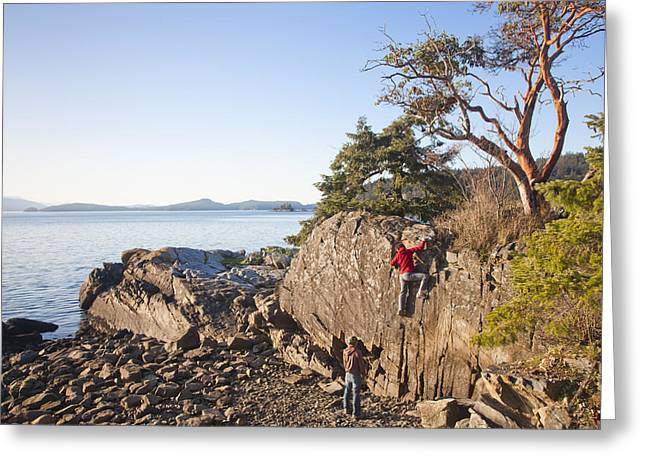 30-35 Years Greeting Cards - Two People Climb A Rock Face On A Sunny Greeting Card by Taylor S. Kennedy