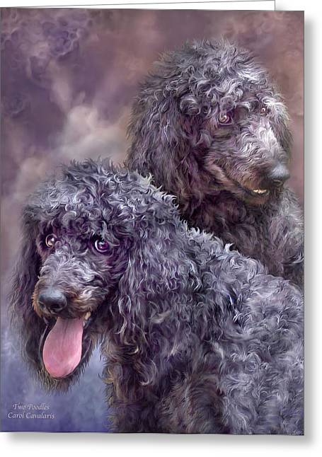 Dog Prints Mixed Media Greeting Cards - Two Poodles Greeting Card by Carol Cavalaris