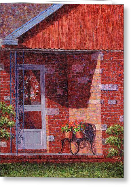 Suburban Greeting Cards - Two Pots of Geraniums Greeting Card by Susan Savad