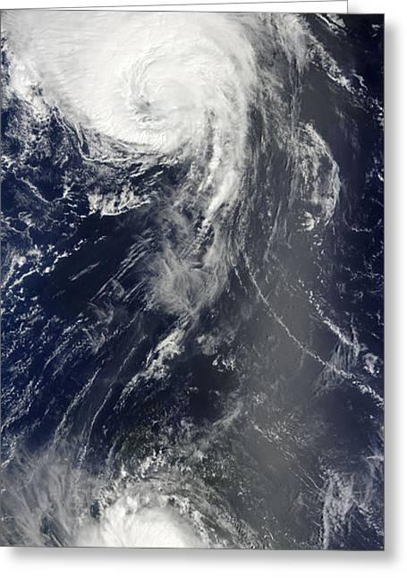 Atlantic Ocean.disaster Greeting Cards - Two Powerful Storms Span The Atlantic Greeting Card by Stocktrek Images