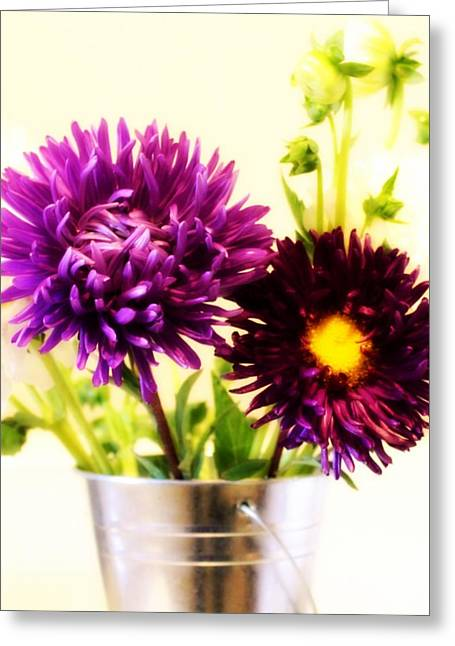 Oregon Flowers Greeting Cards - Two Purple Flowers Greeting Card by Cathie Tyler