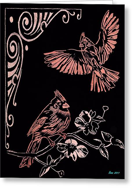 Two Red Cardies Greeting Card by Jim Ross