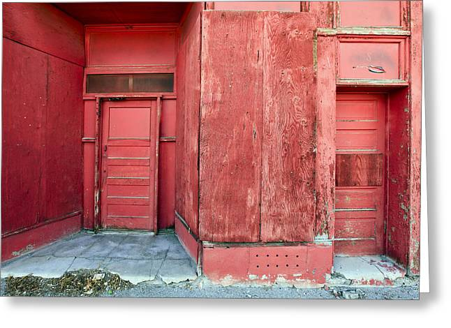 Red Buildings Greeting Cards - Two Red Doors Greeting Card by James Steele