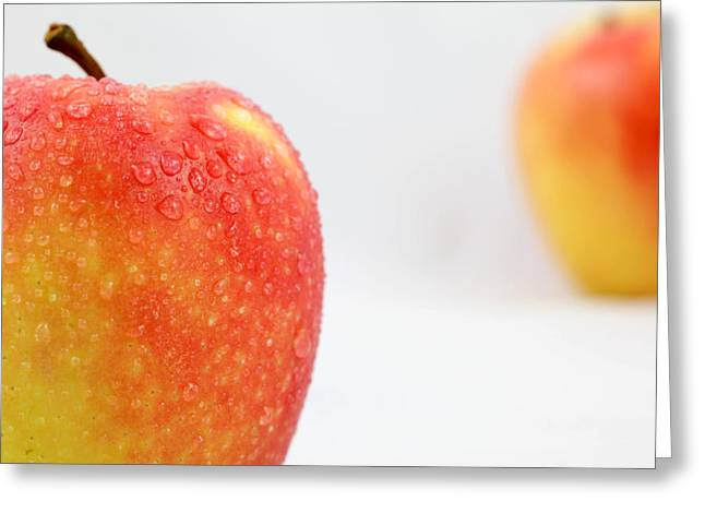 Apple Art Greeting Cards - Two red gala apples Greeting Card by Paul Ge