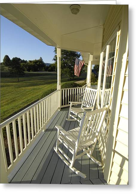 Two Rocking Chairs On A Sunlit Porch Greeting Card by Scott Sroka