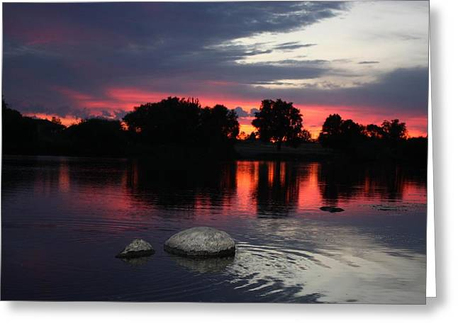 Reflections Of Trees In River Photographs Greeting Cards - Two Rocks Sunset in Prosser Greeting Card by Carol Groenen