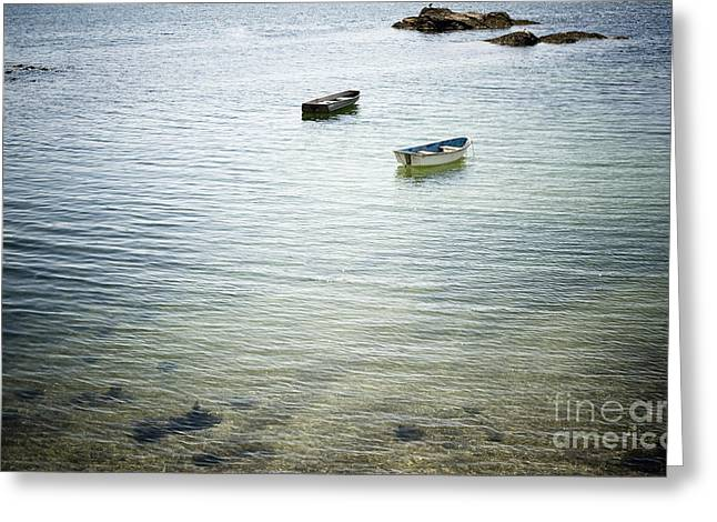 Offshore Rocks Greeting Cards - Two Rowboats Near a Beach Shore Greeting Card by Sam Bloomberg-rissman
