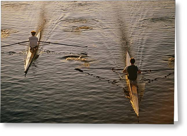Charles River Greeting Cards - Two Rowers Paddle Down The Charles Greeting Card by Tim Laman