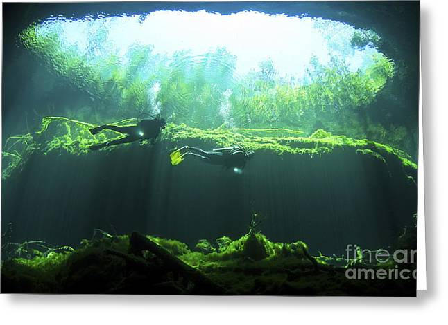 Water In Caves Greeting Cards - Two Scuba Divers In The Cenote System Greeting Card by Karen Doody