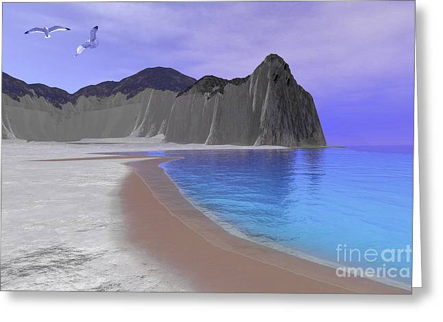 Island .oasis Greeting Cards - Two Seagulls Fly Over A Beautiful Ocean Greeting Card by Corey Ford