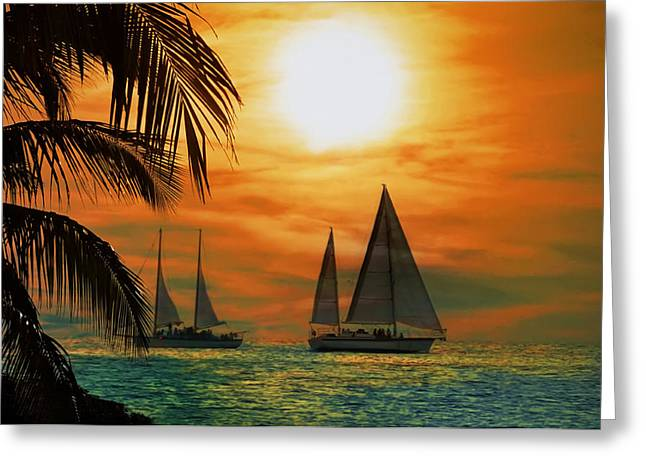 Sail Greeting Cards - Two Ships Passing in the Night Greeting Card by Bill Cannon