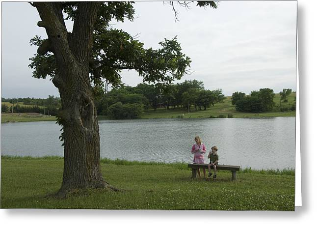 2-3 Years Greeting Cards - Two Siblings By The Lake At A Scout Greeting Card by Joel Sartore