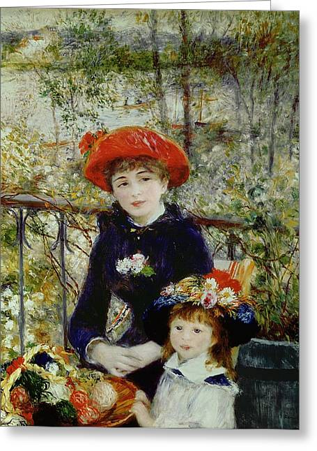 Two Greeting Cards - Two Sisters Greeting Card by Pierre Auguste Renoir