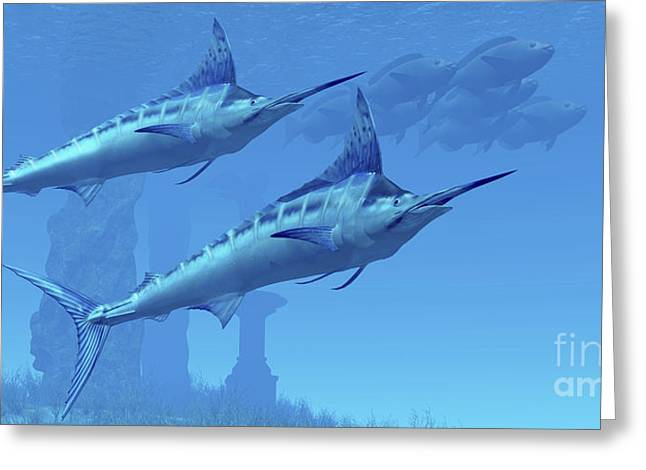Swordfish Greeting Cards - Two Sleek Blue Marlins Swim Close Greeting Card by Corey Ford
