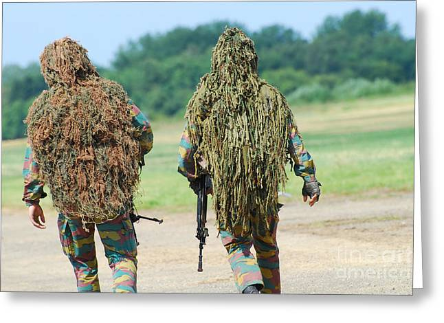 Two Snipers Of The Belgian Army Dressed Greeting Card by Luc De Jaeger