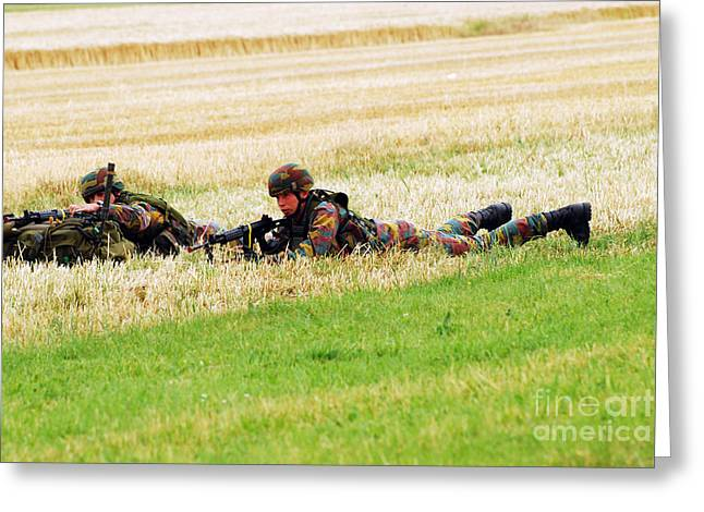 Ambush Greeting Cards - Two Soldiers Of The Belgian Army Greeting Card by Luc De Jaeger