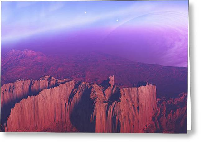 Creativity Desert Greeting Cards - Two Spacecraft Fly Over A Mountain Greeting Card by Corey Ford