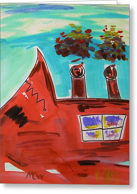 Collar Drawings Greeting Cards - Two Stacks Mini Mill Greeting Card by Mary Carol Williams