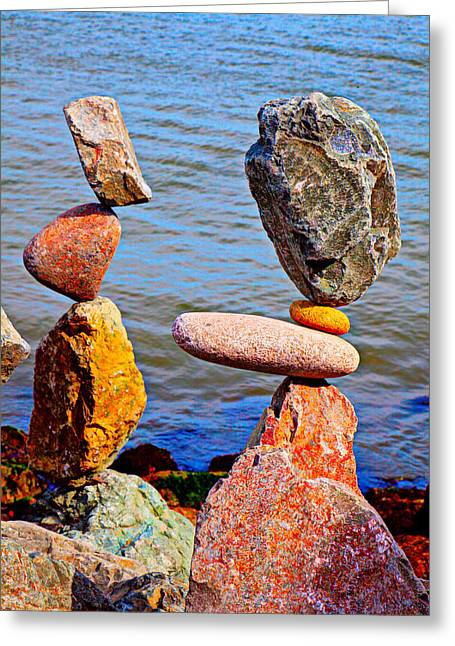 Two Stacks Of Balanced Rocks Greeting Card by Garry Gay