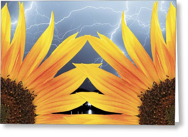 Lightning Photographer Greeting Cards - Two Sunflower lightning Storm Greeting Card by James BO  Insogna
