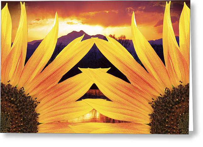 Sunset Posters Greeting Cards - Two Sunflower Sunset Greeting Card by James BO  Insogna
