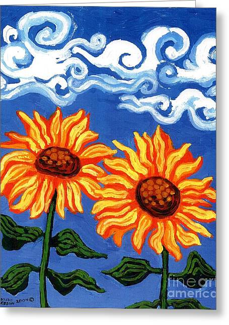 Power Plants Greeting Cards - Two Sunflowers Greeting Card by Genevieve Esson