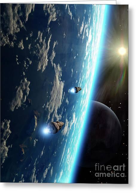 Interstellar Travel Greeting Cards - Two Survey Craft Orbit A Terrestrial Greeting Card by Brian Christensen