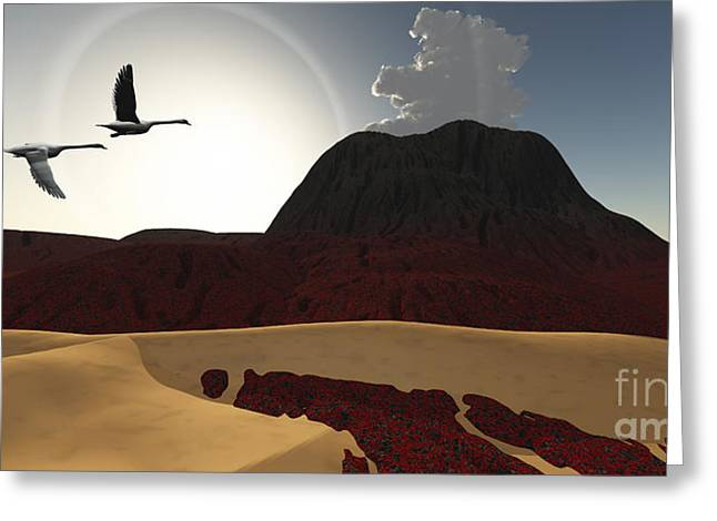 Bird Summit Greeting Cards - Two Swans Fly Over Cooling Lava Flows Greeting Card by Corey Ford