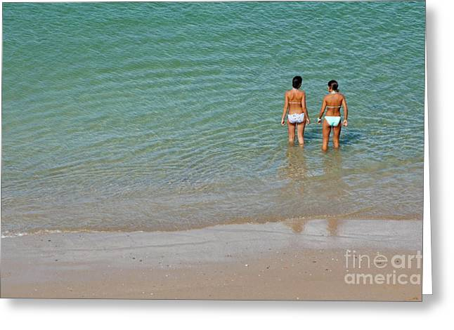 Two Piece Greeting Cards - Two teenage girls bathing at the beach Greeting Card by Sami Sarkis