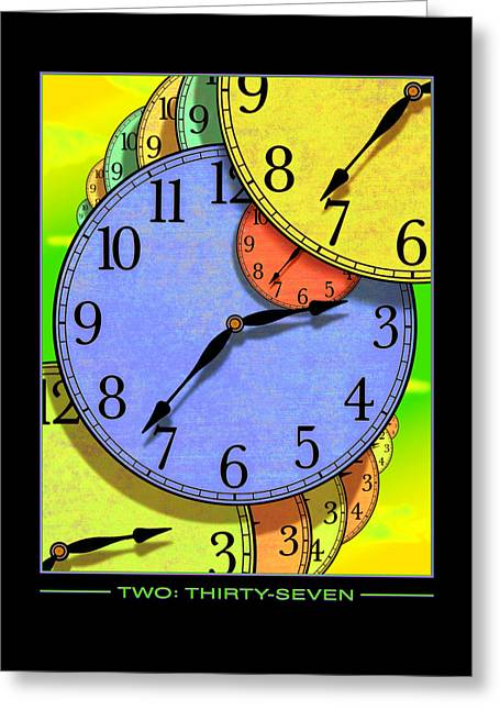 Clock Face Greeting Cards - Two Thirty-seven Greeting Card by Mike McGlothlen