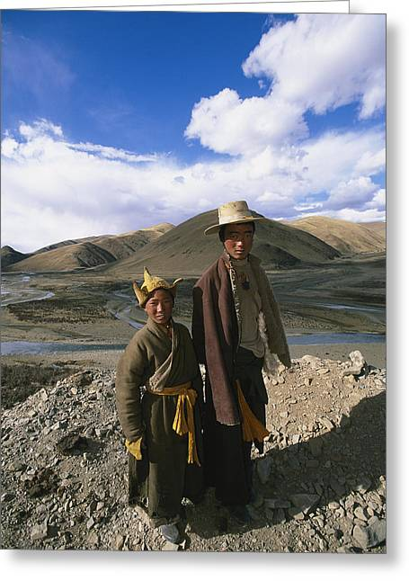 Sichuan Province Greeting Cards - Two Tibetan Herders Near Litang Greeting Card by David Edwards