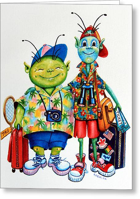 Two Tourists True Greeting Card by Hanne Lore Koehler