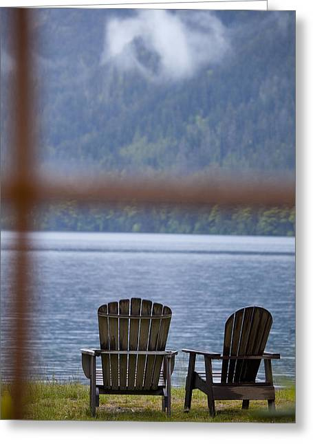 Lake Crescent Greeting Cards - Two Traditional Adirondack Style Wooden Greeting Card by Rob Casey