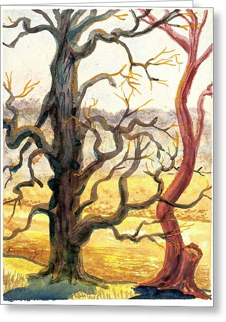 Gnarly Paintings Greeting Cards - Two Trees Greeting Card by David Bratzel