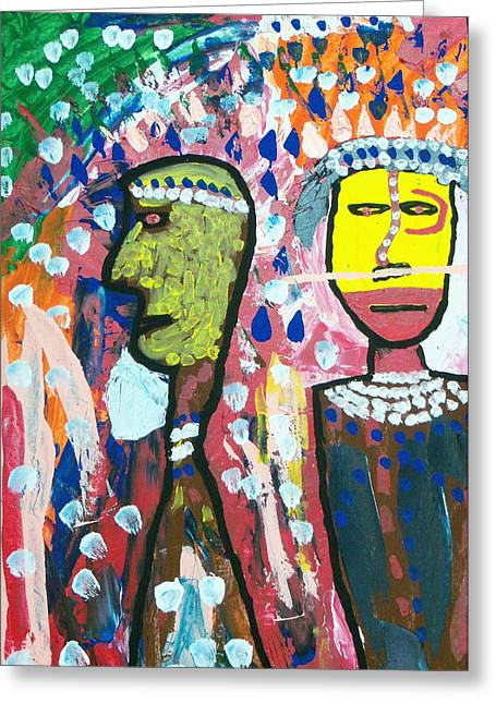 Russell Simmons Greeting Cards - Two Tribal Men Greeting Card by Russell Simmons