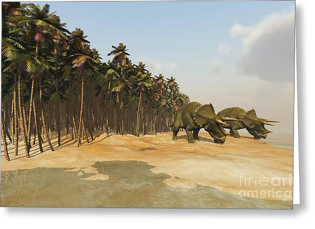 Triceratops Digital Art Greeting Cards - Two Triceratops Come Down To A Lake Greeting Card by Corey Ford