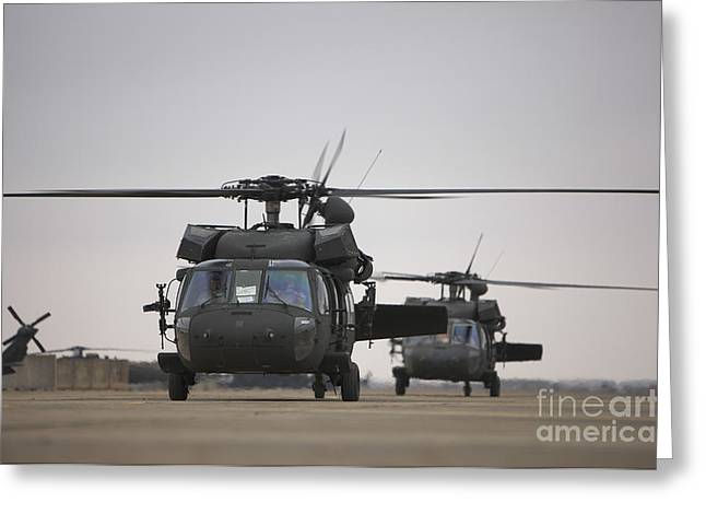 Copy Machine Greeting Cards - Two Uh-60 Black Hawks Taxi Greeting Card by Terry Moore