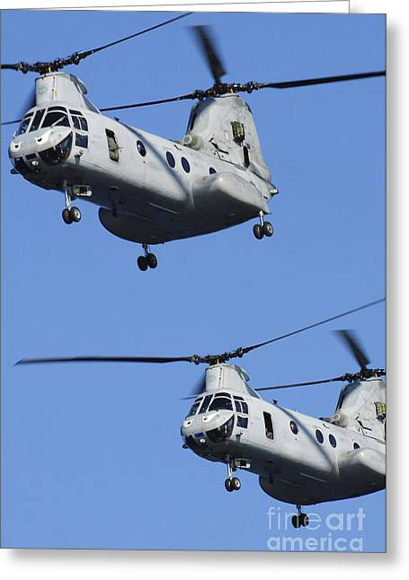 Ch-46 Greeting Cards - Two U.s. Marine Corps Ch-46e Sea Knight Greeting Card by Stocktrek Images