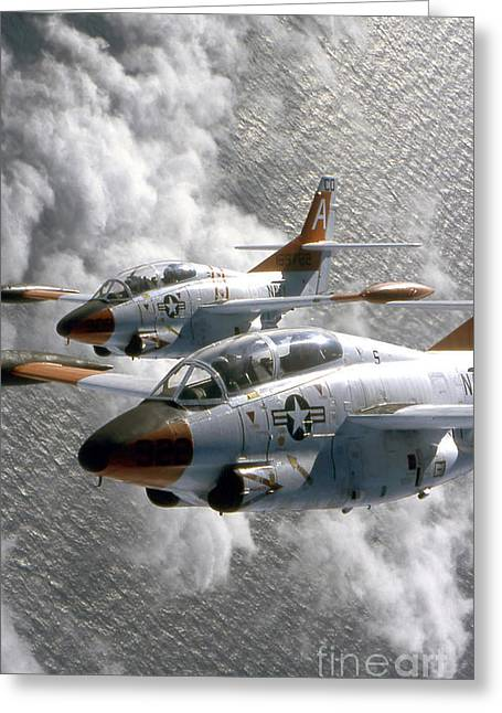Vertical Flight Greeting Cards - Two U.s. Navy T-2c Buckeye Aircraft Greeting Card by Stocktrek Images