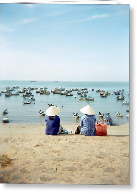 Bonding Greeting Cards - Two Vietnamese Merchant Ladies Taking Greeting Card by Justin Guariglia