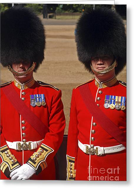 Two Warrant Officers Of The Irish Greeting Card by Andrew Chittock