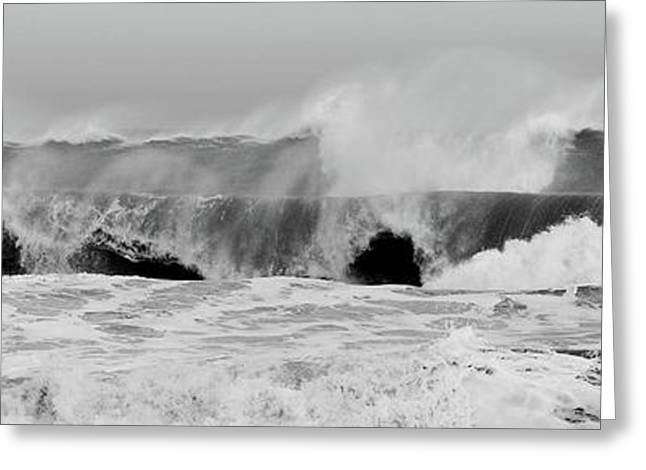 Hurricane Noel Greeting Cards - Two Waves Are Better Than One - Jersey Shore Greeting Card by Angie Tirado